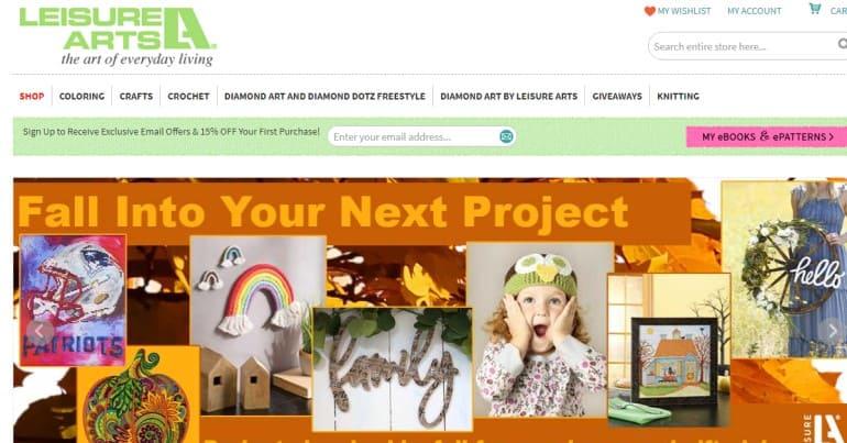 screenshot of the leisure arts website