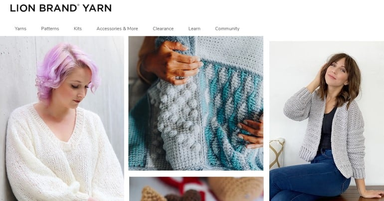 screenshot of the lion brand yarn website