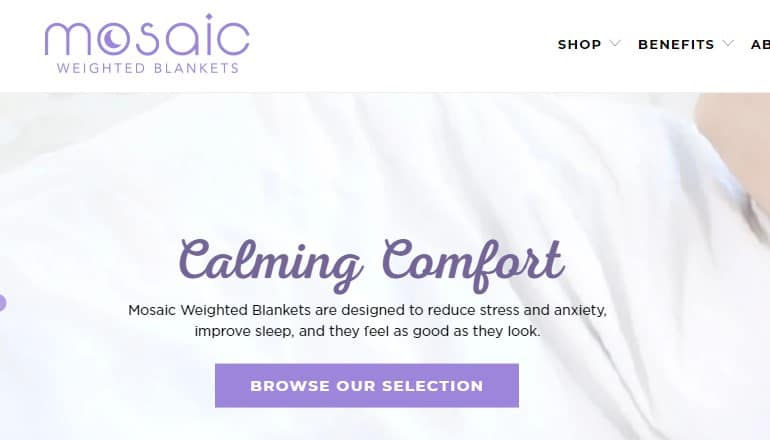 screenshot of the mosaic weighted blanket website