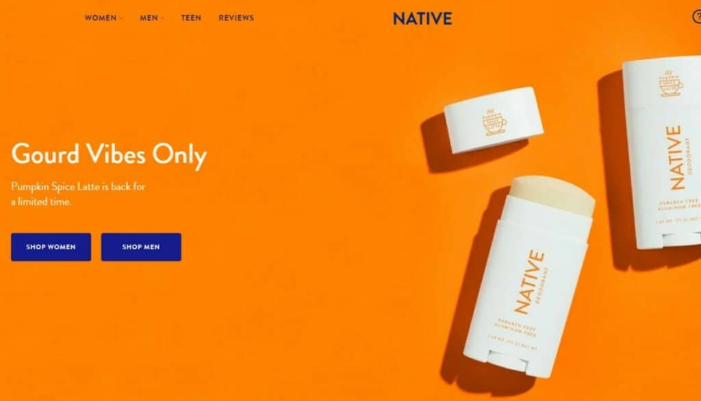 screenshot of native deodorant website