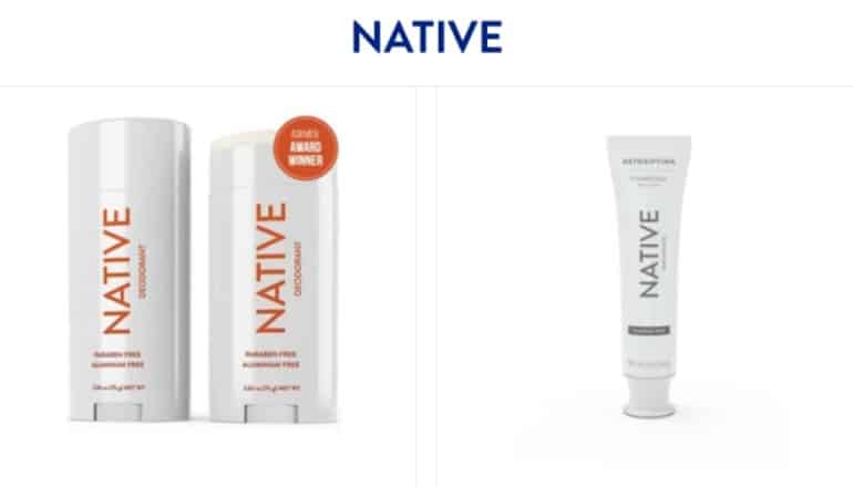 a screenshot of native deodorant and toothpaste