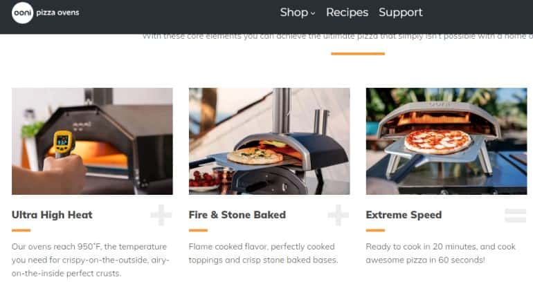 screenshot of the Ooni website featuring some of the outdoor pizza ovens