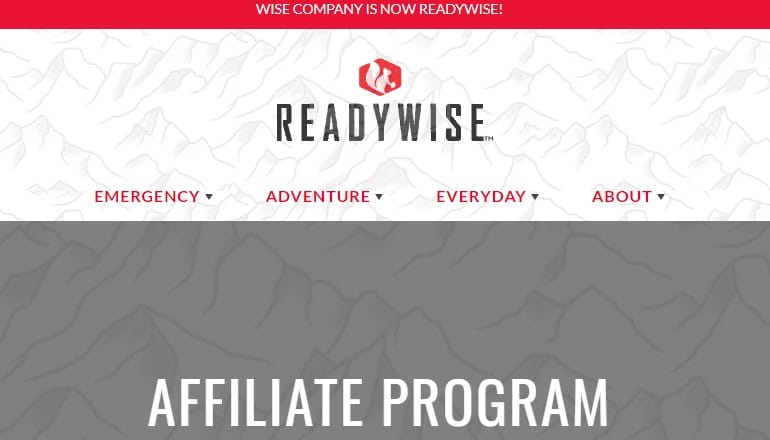 screenshot of the readywise affiliate webpage