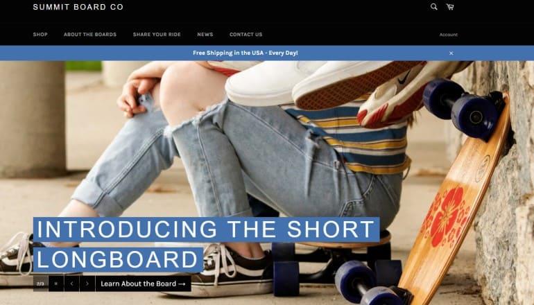 screenshot of the summit board website