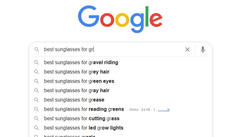 screenshot of google search for sunglasses with a gr modifier