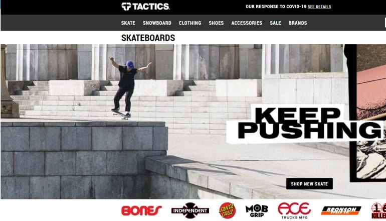 screenshot of the tactics website