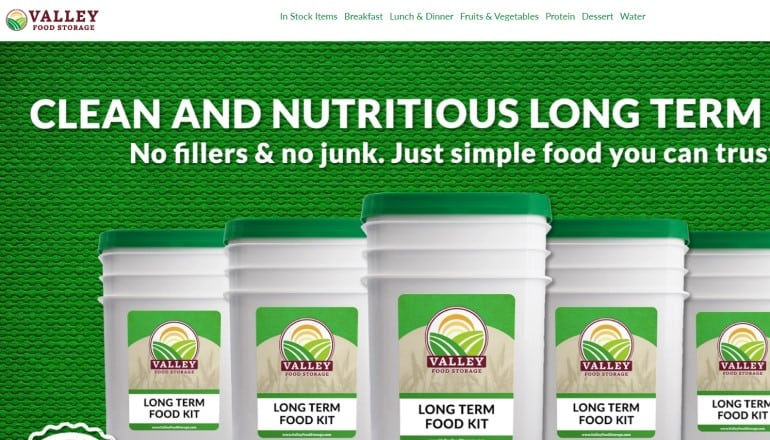 screenshot of the valley food storage website