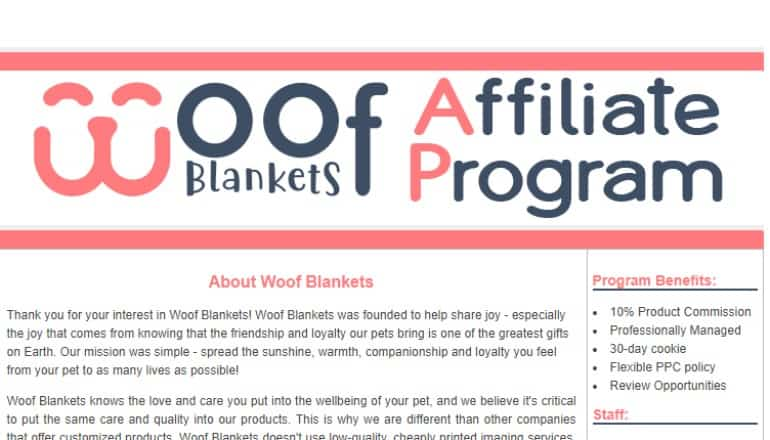 screenshot of the woof blankets affiliate program