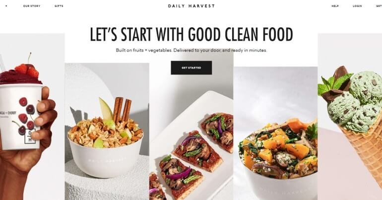 screenshot of the daily harvest website