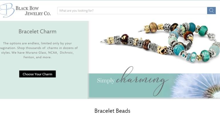 screenshot of the black bow jewelry website