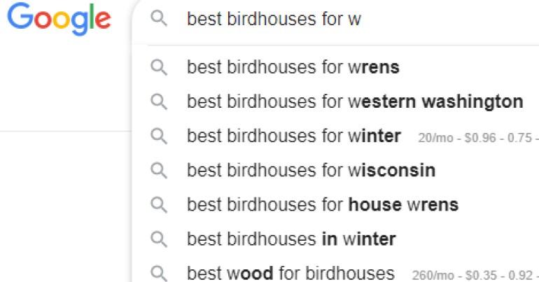 screenshot of alphabet soup method for Google search autosuggest