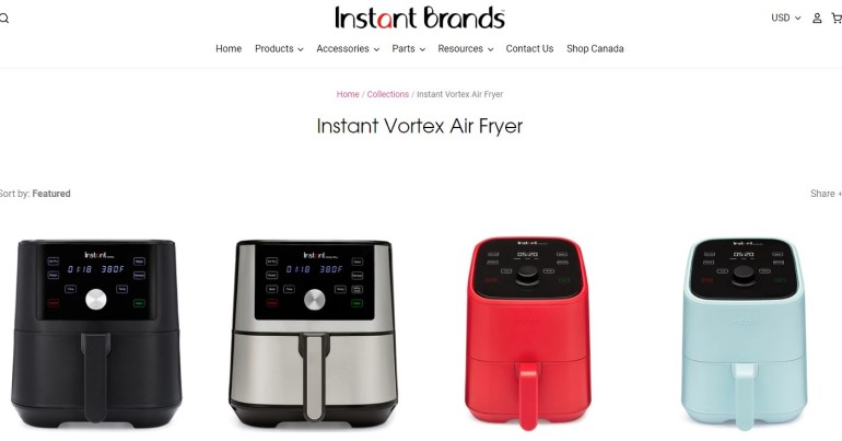 screenshot of the instant brands air fryer webpage