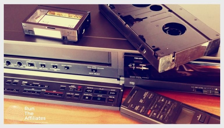 vhs tape and machine