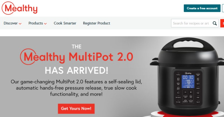 screenshot of the mealthy website