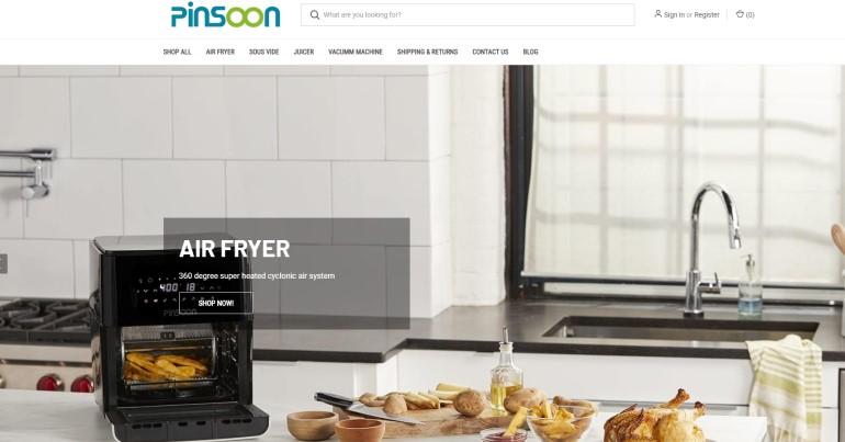 screenshot of the pinsoon website