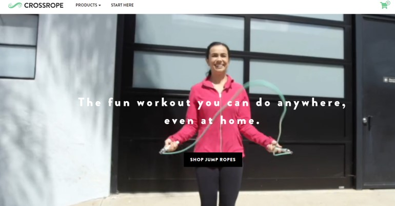 screenshot of the Crossrope website featuring a woman jumping rope with a Crossrope