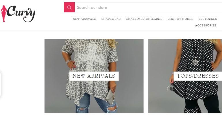 screenshot of the Curvy website