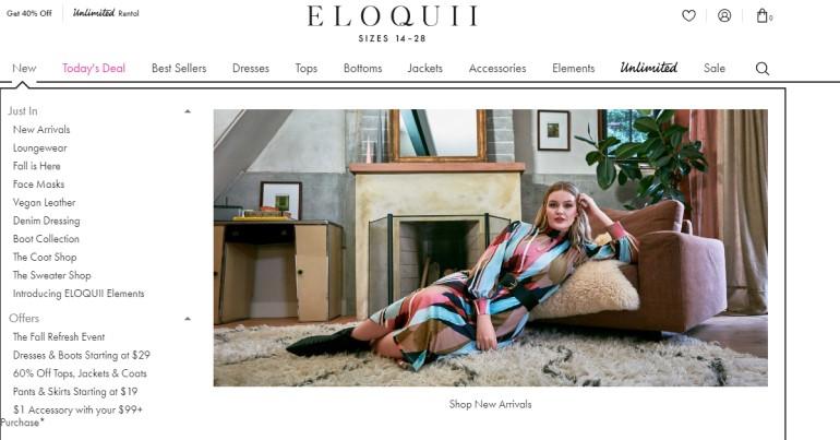 screenshot of the eloquii website