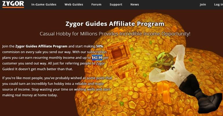screenshot of the zygor affiliate program webpage