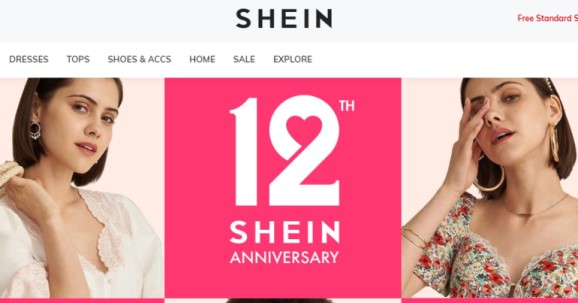 screenshot of the shein website for review article