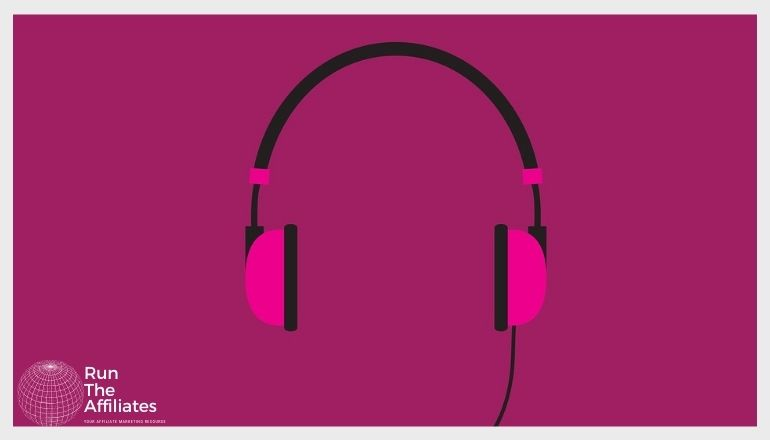 drawing of headphones against a pink background