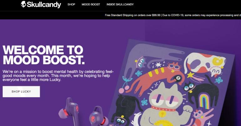 screenshot of the skullcandy website