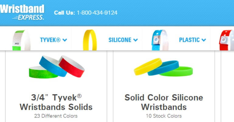 screenshot of the wristband express website