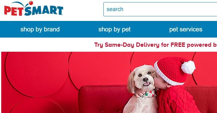 screenshot of the petsmart website for review