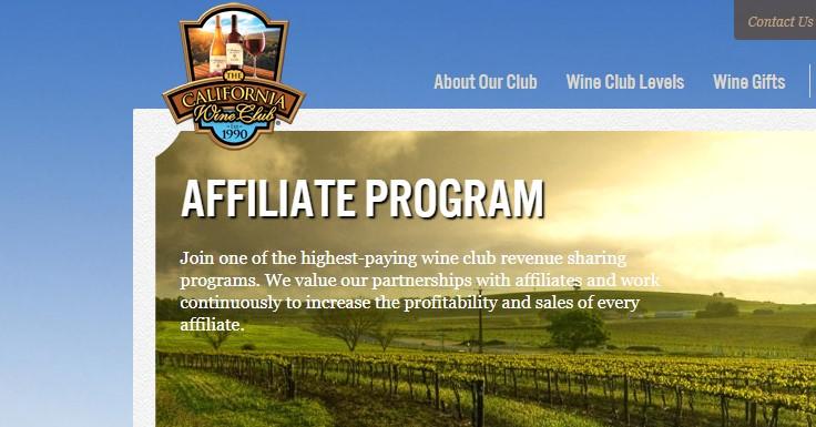 screenshot of the California wine club affiliate page