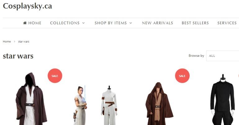 screenshot of the cosplaysky.ca website