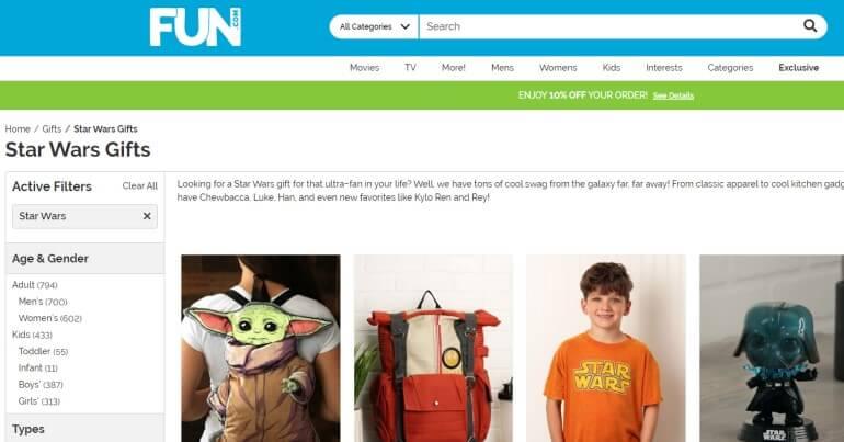 screenshot of the fun.com website