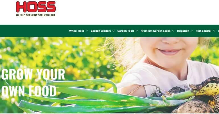 screenshot of the hoss gardening tools website