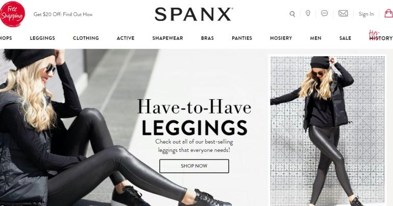 screenshot of the spanx website