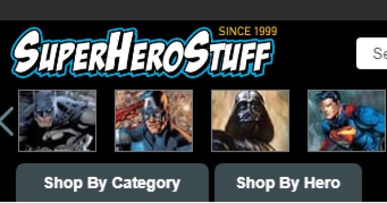 screenshot of the superherostuff.com website