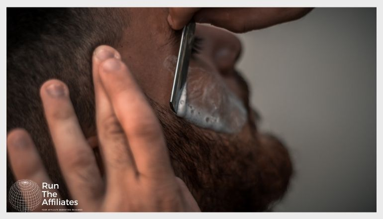 close up of man getting a shave