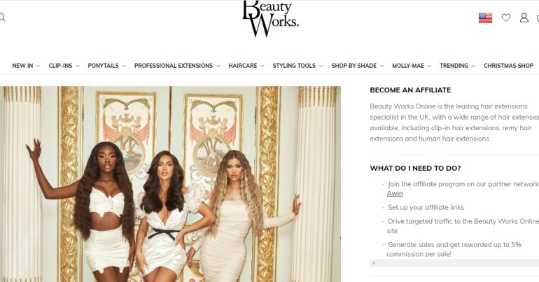 screenshot of the beauty works website
