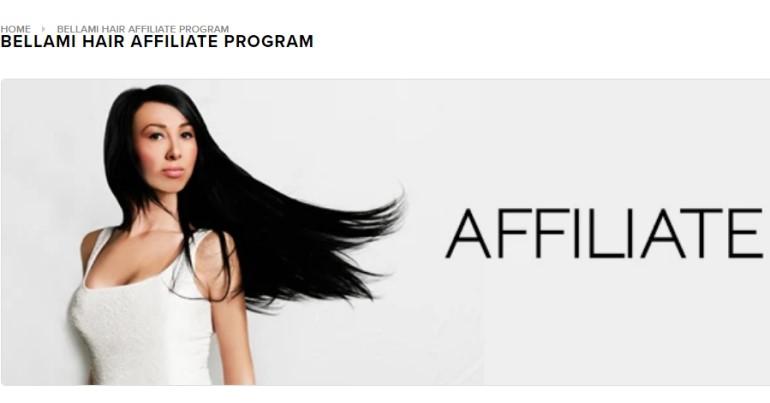 screenshot of the bellami affiliate webpage
