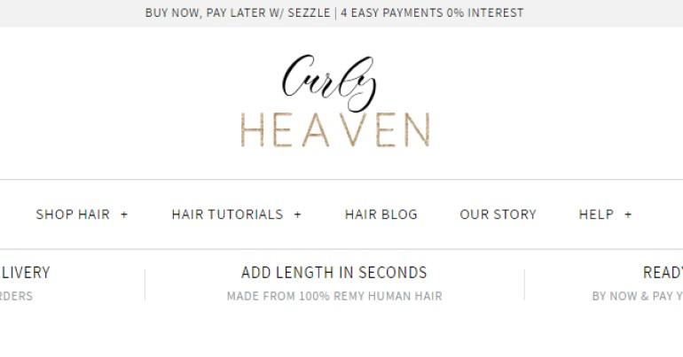 screenshot of the curly heaven website