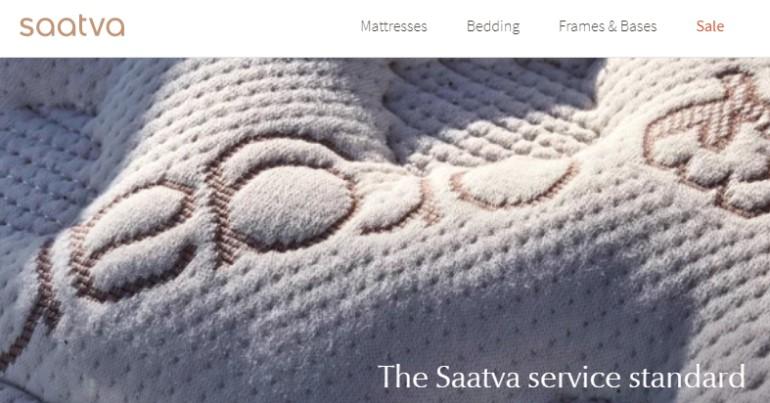 screenshot of the saatva website