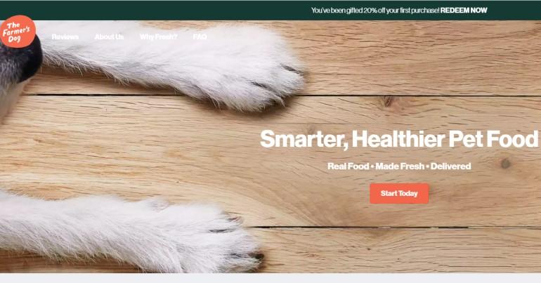 screenshot of the farmers dog website