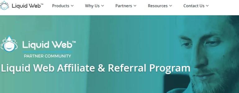 screenshot of the liquid web affiliate page