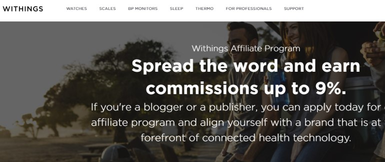 screenshot of the withings affiliate webpage