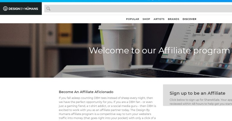 screenshot of the design by humans affiliate webpage