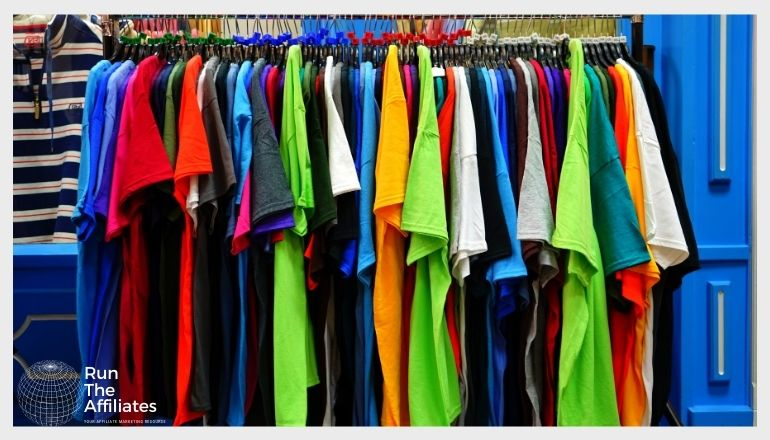 rack of multi-colored tee shirts