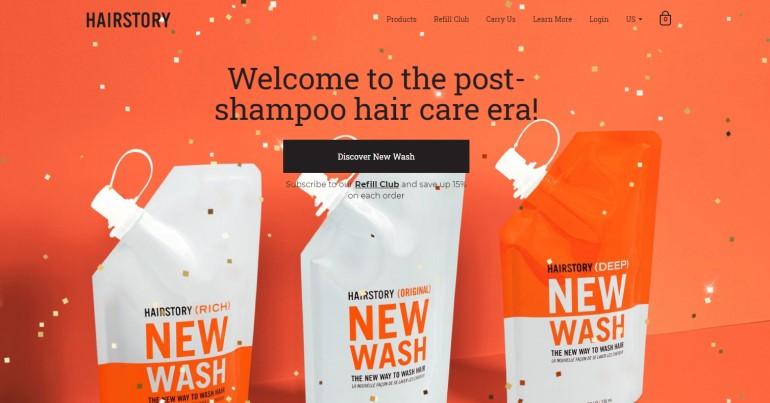 screenshot of the hairstory website
