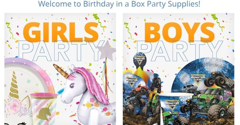 screenshot of the birthday in a box website