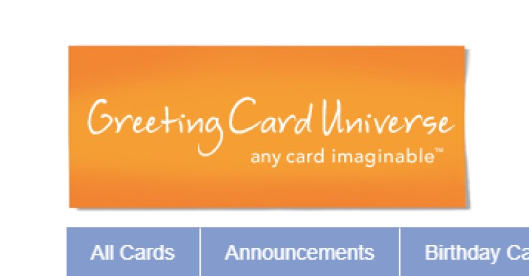 screenshot of the greetings card universe website