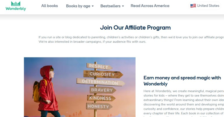 screenshot of the wonderbly affiliate webpage
