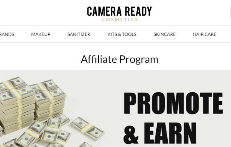 dy screenshot of the affiliate page