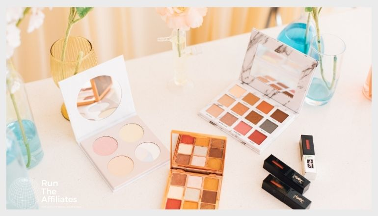 makeup and cosmetics on a table